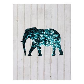 Wunderliche Stern-Glitzern-Elefant-Silhouette Postkarten