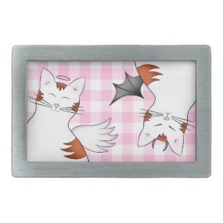 Wunderliche Tabbykatzen auf rosa Gingham Rechteckige Gürtelschnalle