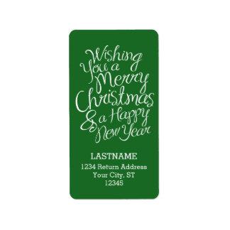 Wunderliche Typografie für Weihnachten und neues Adressaufkleber