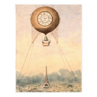 Wunderliche Vintage Heißluftballonpostkarte Postkarte