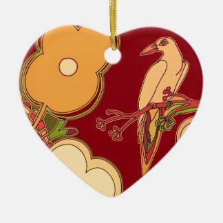 Wunderliche Vögel (irgendeine Farbe, die Sie! Keramik Herz-Ornament