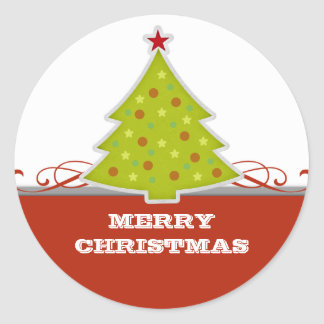 Wunderliche Weihnachtsbaum-Aufkleber Runder Aufkleber