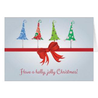 Wunderliche Weihnachtsbaum-Stechpalmen-lustige Karte