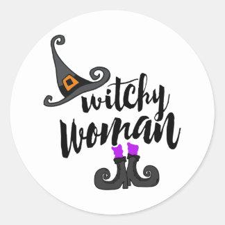 Wunderliche Witchy Frau Halloween Runder Aufkleber