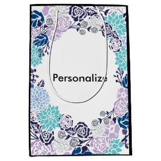 Wunderlicher blauer BlumenKranz-Entwurf Mittlere Geschenktüte