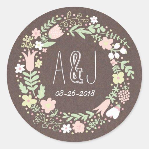 Wunderlicher BlumenKranz-graues Runde Sticker