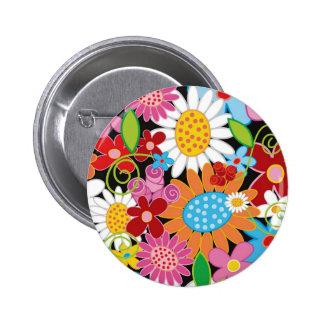 Wunderlicher bunter Frühlings-Blumen-Garten-Knopf Runder Button 5,1 Cm