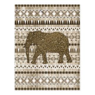 Wunderlicher Elefant-Stammes- Muster auf hölzernem Postkarte