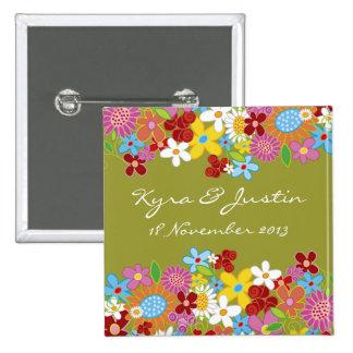 Wunderlicher Frühlings-Blumen-Garten-Hochzeits-Nam Buttons