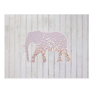 Wunderlicher Glitter-Glitzern-Elefant auf Postkarte