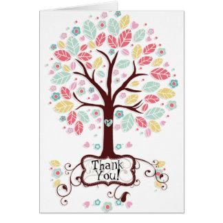 Wunderlicher moderner Strudel-Herz-Blumen-Baum Mitteilungskarte