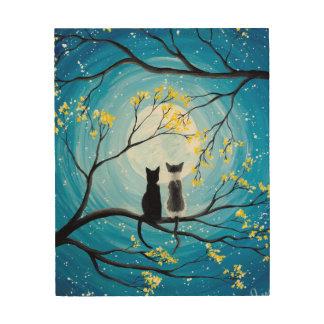 Wunderlicher Mond mit Katzen Holzdruck