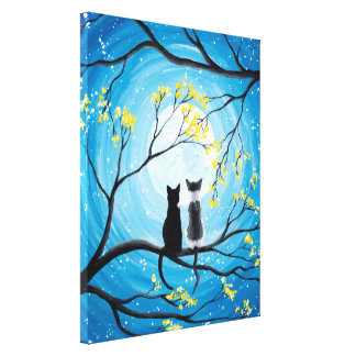 Wunderlicher Mond mit Katzen Leinwanddruck