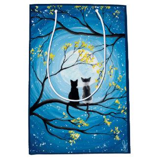 Wunderlicher Mond mit Katzen Mittlere Geschenktüte