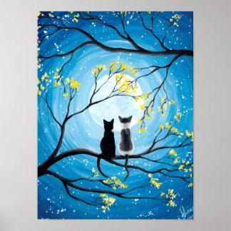 Wunderlicher Mond mit Katzen Poster