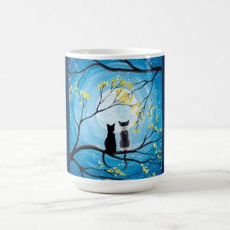 Wunderlicher Mond mit Katzen Tasse