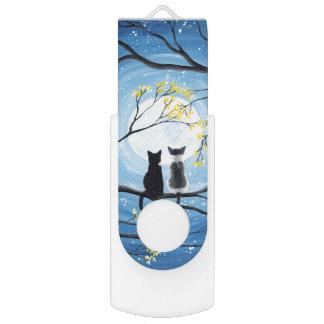 Wunderlicher Mond mit Katzen USB Stick