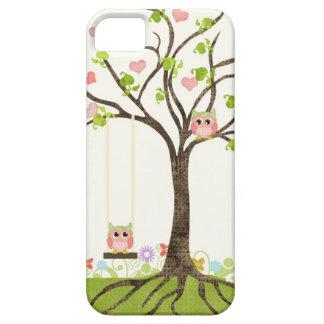 Wunderlicher niedlicher Eulen-Baum des Leben-Herz- iPhone 5 Cover