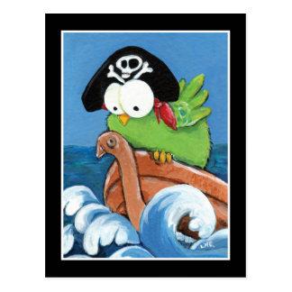 Wunderlicher Piraten-Vogel in einer hölzernen Boot Postkarten