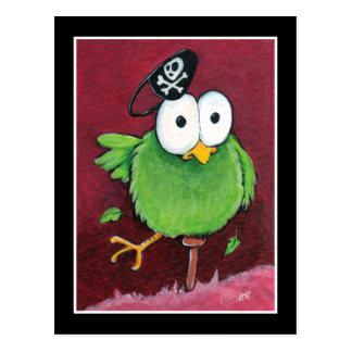 Wunderlicher Piraten-Vogel mit hölzernes Postkarten