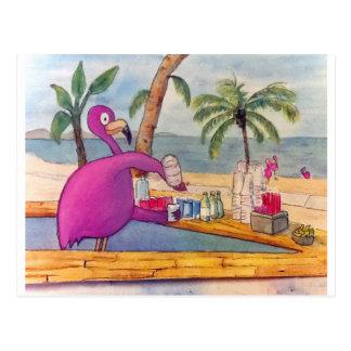 Wunderlicher rosa Flamingo gießt Postkarten