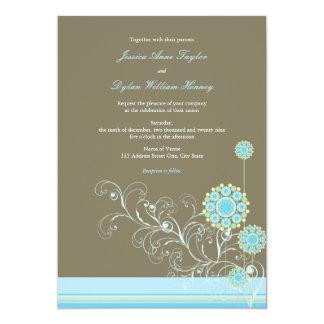 Wunderlicher Schnee-Blumen-Wirbels-blaue Hochzeit Karte