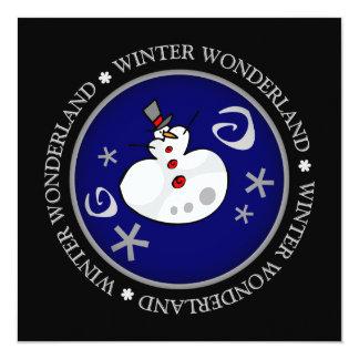 Wunderlicher silberner Winter-Schneemann-flache Ankündigungen