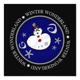 Wunderlicher silberner Winter-Schneemann-flache Quadratische 13,3 Cm Einladungskarte