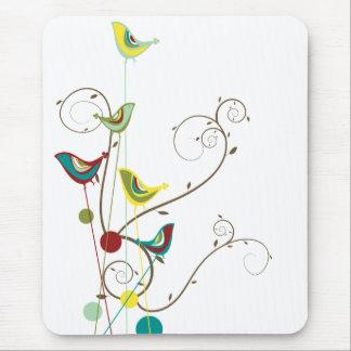 Wunderlicher Sommer-Vogel-Wirbels-moderne Natur-Re Mousepads