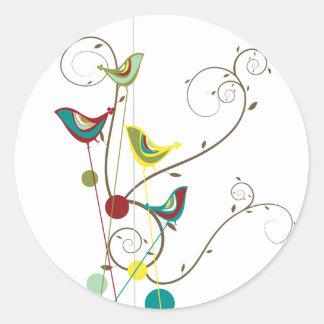 Wunderlicher Sommer-Vogel-Wirbels-moderne Runder Aufkleber