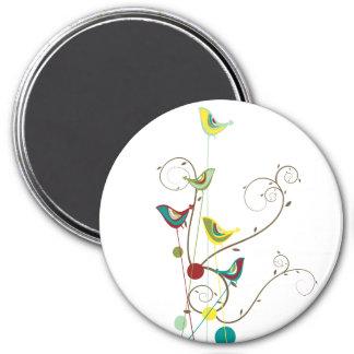 Wunderlicher Sommer-Vogel-Wirbels-moderne Runder Magnet 7,6 Cm