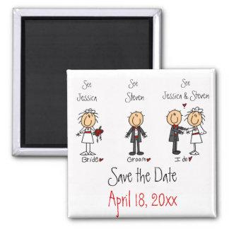 Wunderlicher Spaß Save the Date Quadratischer Magnet
