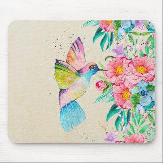 Wunderlicher Watercolorkolibri und -Blumen Mauspad