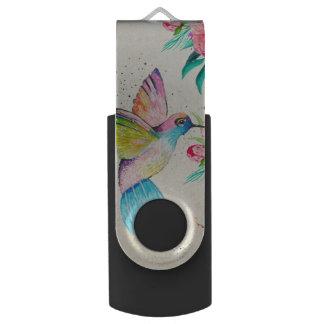 Wunderlicher Watercolorkolibri und -Blumen USB Stick