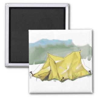 Wunderlicher Zelt-Illustrations-Magnet Quadratischer Magnet