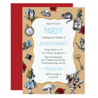 Wunderliches Alice im Wunderland-Party Karte