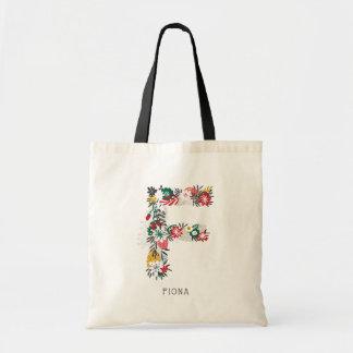 Wunderliches Blumenbuchstabe-Monogramm I des Tragetasche
