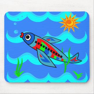 Wunderliches buntes Fisch-Flugzeug Mauspads
