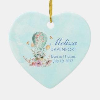 Wunderliches Häschen-Reiten in einem Keramik Herz-Ornament