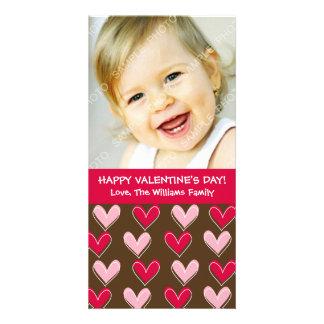 Wunderliches Herz-Rosa und Brown-Valentinstag Fotokarten