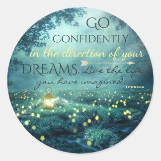 Wunderliches inspirierendes Traum-Zitat Runder Aufkleber