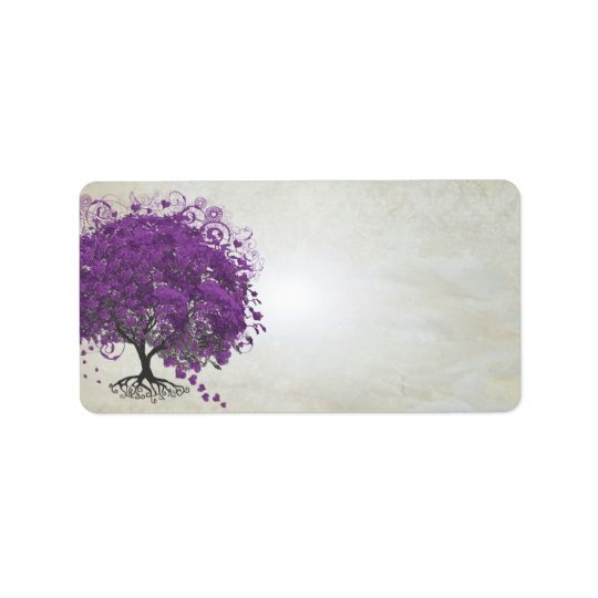 Wunderliches lila Herz trieb Baum Blätter Adressaufkleber