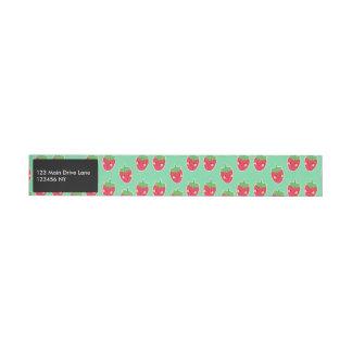 Wunderliches niedliches Erdbeercharaktermuster Rundum-Adressaufkleber