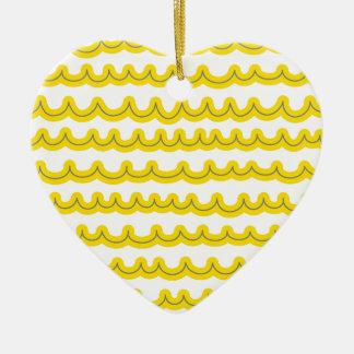 Wunderliches Ozean-Wellen-Gelb Keramik Herz-Ornament