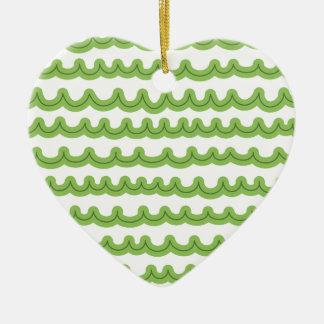Wunderliches Ozean-Wellen-Grün Keramik Herz-Ornament