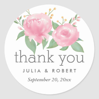 Wunderliches rosa Aquarell-Blumenhochzeit Runder Aufkleber