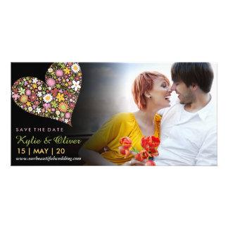 Wunderliches rosa Frühlings-Blumen-Herz Save the Karte