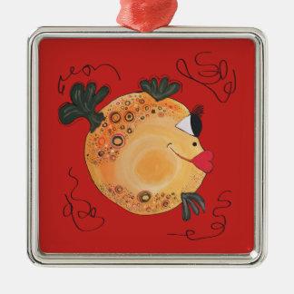 Wunderliches und Spaß-Fisch-Kunst-Feriengeschenk Silbernes Ornament