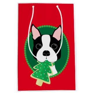 Wunderliches Weihnachten Bostons Terrier Mittlere Geschenktüte