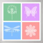 Wunsch, Traum, Hoffnung, glauben PastellPatchwork Plakat